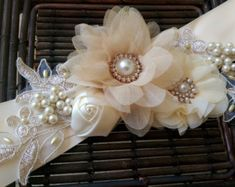 Champagne Blush and Gold Bridal Sash Belt With Fabric Flowers, Swarovski crystals, and Lace Applique - Lace Bridal Sash Wedding Belts, Wedding Sash, Dream Wedding, Wedding Wows, Bridal Sash Belt, Bridal Lace, Lace Flowers, Fabric Flowers, Wedding Flowers