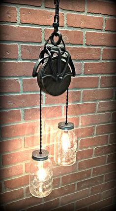 Pulley decor – Eclectic Home Decor Today Farmhouse Lighting, Rustic Lighting, Home Lighting, Pully Light, Laundry Room Lighting, Brick Accent Walls, Rustic Light Fixtures, Vintage Jars, Old Lights