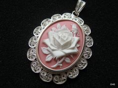 Handmade Silver Filigree Pendant / pink resin cameo with rose.