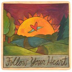 Sticks Plaque Follow Your Heart PLQ001-D75238, Artistic Artisan Designer Plaques