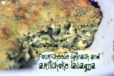 Four-cheese spinach artichoke lasagna