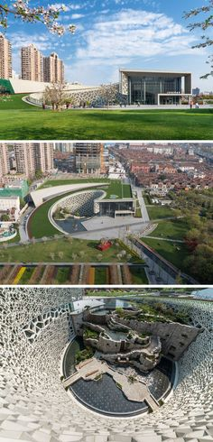 The Shanghai Natural History Museum in Shanghai, China, incorporates various natural elements in the exterior design of the museum including the cellular wall, inspired by the cells making up all humans and plants, a green wall and grass roof that represents the vegetation found all over the planet, and a stone wall surrounded by water to represent the moving tectonic plates and the erosion that occurs over time from water and plants.