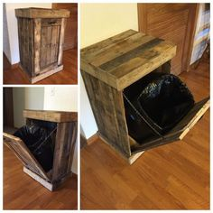 Trash Can Cabinet, Rustic Trash Bin, Country Living, Wooden Pallet Cabinet - Home Decor Wooden Pallet Projects, Pallet Crafts, Wooden Pallets, Pallet Ideas, Pallet Benches, Pallet Couch, Pallet Tables, Outdoor Pallet, 1001 Pallets