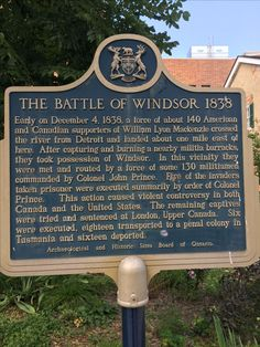 Battle of Windsor Ontario Canada in 1838 with Detroit Michigan.