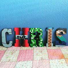 Minecraft themed wooden letters for Chris. Any theme can be done. Please follow @MyCraftyCyn on Instagram. Www.instagram.com/mycraftycyn