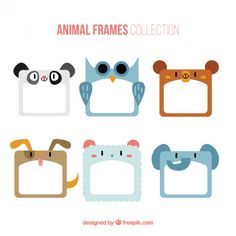 Collection of enjoyable animal frame Free Vector Wedding Badges, Origami Templates, Diy And Crafts, Paper Crafts, Stationery Craft, Flower Doodles, Frame Crafts, Note Paper, Printable Stickers