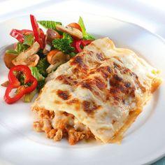 Lasagne med kycklingfärs. Gott och annorlunda! En rätt som passar bra att frysas in och ta med i matlådan