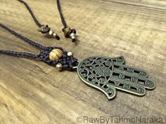 micro macrame necklace with Bronze metal Hamsa Hand  brass beads Bohemian gypsy hippie native hipster � oil diffuser
