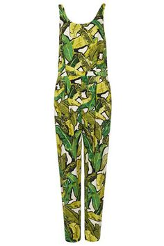 Leaf Print Jumpsuit - Safari  - Clothing
