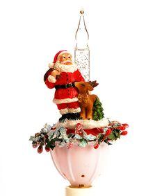 Santa Deer Bubble Night Light Zulily Christmas Holiday Decor