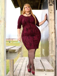 Holiday Romance Textured Dress in Burgundy by Point Zero Curvy