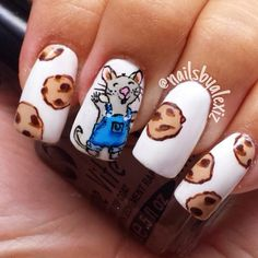 Instagram photo by nailsbyalexiz . If You Give a Mouse a Cookie inspired nails