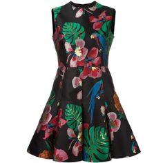 Valentino tropoical Dream jacquard dress ($6,650) ❤ liked on Polyvore featuring dresses, black, metallic skater skirt, back zipper dress, round neck sleeveless dress, valentino dress and circle skirt