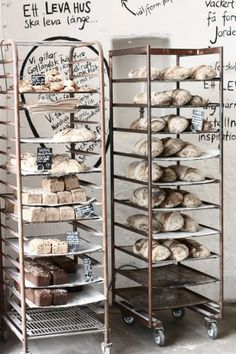bakers racks for craft supplies mariaemb. Bakery Cafe, Bakery Store, Cafe Restaurant, Bakery Kitchen, Bread Display, How To Store Bread, Bakery Interior, Bread Shop, Cafe Bistro