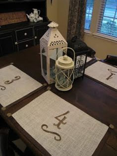 Okay I have a million ideas for this... we could take the concept and do it with table runners and stencil your wedding dates, your monogram, a quote etc. on them or we could make totes adorable placemats for just the bride and groom. :)