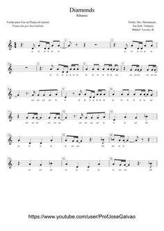 1-2- Pauta para voz ou flauta do tema Diamonds de Rihanna Mais Violin Songs, Guitar Chords And Lyrics, Saxophone Sheet Music, Piano Sheet Music, Free Printable Sheet Music, Reading Sheet Music, Trumpet Music, Rihanna, Karaoke