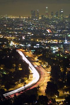 Nighttime view of Downtown L.A. and the Hollywood Freeway
