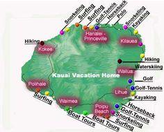 Activities and fun things to do on Kauai. In case Davison Davison Schattel and I end up in Hawaii instead of Spain! Kauai Vacation, Honeymoon Vacations, Hawaii Honeymoon, Aloha Hawaii, Hawaii Life, Hawaii Travel, Vacation Trips, Map Of Hawaii, Honeymoon Ideas