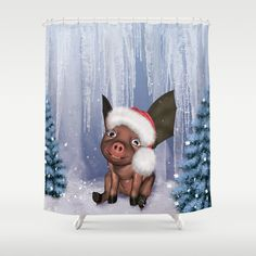 Christmas, cute little piglet Shower Curtain by