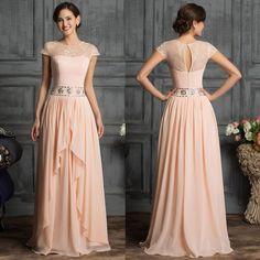 Vintage Cap Sleeve Chiffon Long Prom Mother of Bride Gowns Evening Dress Custom #GraceKarin #BallGown #Formal