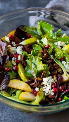 Pear salad with blue cheese, candied pecans and pomegranate in a balsamic dressing. Pear salad with blue cheese, candied pecans and pomegranate in a balsamic dressing. Healthy Salad Recipes, Vegetarian Recipes, Cooking Recipes, Balsamic Salad Recipes, Great Salad Recipes, Winter Salad Recipes, Christmas Salad Recipes, Italian Salad Recipes, Lettuce Salad Recipes
