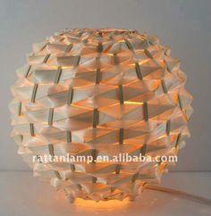 Hechos a mano naturel de bambú lámpara de mesa de noche de la lámpara