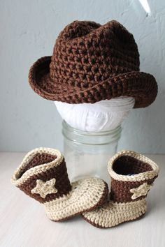 SO cute! Baby cowboy hat and boot set Western wear by LittleAquarius, $30.00