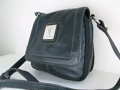 TIGNANELLO Black Genuine Leather Flap over Cross body Shoulder Bag Organizer