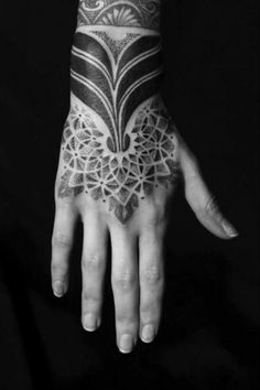 Hand Dotwork Tribal Tattoo by Sakrosankt Geometric Tattoo Hand, Mandala Hand Tattoos, Tribal Tattoos, Girl Tattoos, Tattoos For Guys, Tatoos, Feminine Thigh Tattoos, Fractal Tattoo, Hand Tats