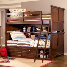 AJ again. Covington Full over Full Bookcase Storage Bunk Bed.