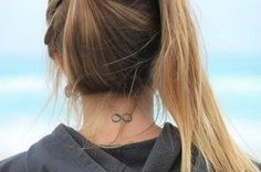 eternity symbol on the back of the neck tattoo