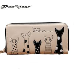 Cheap ladies purse, Buy Quality wallet coin purse directly from China purse girl Suppliers: 2017 New Ladies Purses In Europe And America Long Wallet  Female Cards Holders Cartoon Cat PU Wallet Coin Purses Girl