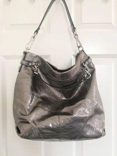 4de1fd2471 Coach Brooke Shoulder Convertible Pewter Silver Metallic Leather Hobo Bag
