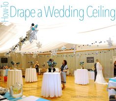 How to drape a ceiling to decorate wedding hall using organza. Ceiling draping isn't hard, but does take some time and planning