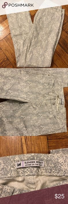 Lee snake skin print jeans Lee snake skin print jeans! Stretchy, comfy & durable! Hardly ever worn - great condition!! Lee Jeans Straight Leg