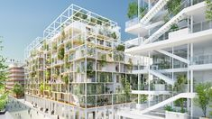 A tower with undulating, tree-covered canopies by Japanese architect Sou Fujimoto forms part of this competition-winning million masterplan for a new neighbourhood in Nice, France. Floating Architecture, Green Architecture, Landscape Architecture, Architecture Design, Classical Architecture, Sou Fujimoto, Social Housing Architecture, Timber Structure, Residential Complex