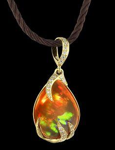 """Caliente""  Fire opal and diamonds set in gold pendant  nyrockphotogirl   La Dolce Vita"
