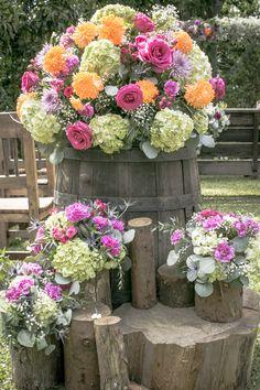 barril con flores