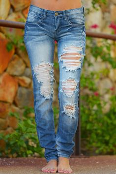 MACHINE Distressed Skinny Jeans - Becka Wash - Closet Candy Boutique