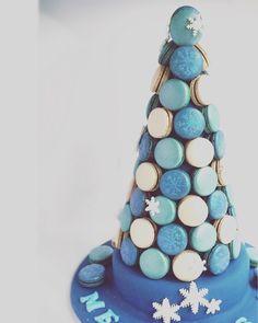 Frozen theme macaron tower for birthday