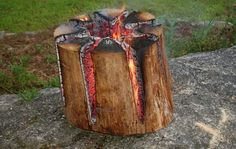 The Swedish Torch – How To Build An All Night Campfire With Just One Log!