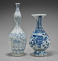 Two Chinese Blue and White Dragon Vases : Lot 129