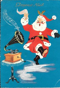 Vintage Dancing Santa Christmas Card