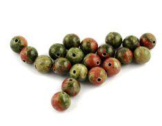 Unakite Beads 8mm  Gemstone Beads  Round by a1craftsupplies