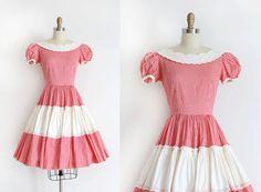 Vintage 1950s dress // 60s red gingham dress