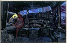 'Blade Runner' production design art by Syd Mead. / cyberpunk interior / sci fi city