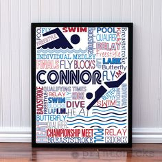 Competitive Swim Poster - Personalized Boys Swim Decor - Swim Team Prints - Sport Typography Print - Boys Decor - Swimmer Decor – PrintChicks