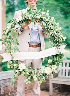 rustic green wedding wreath decor / http://www.himisspuff.com/wedding-wreaths-ideas/9/