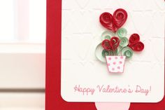 Quilled Hearts in A Vase Valentine's Day Card