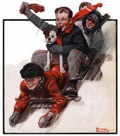 Four Boys On A Sled